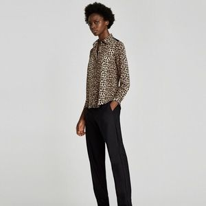 Zara leopard blouse with lace detail